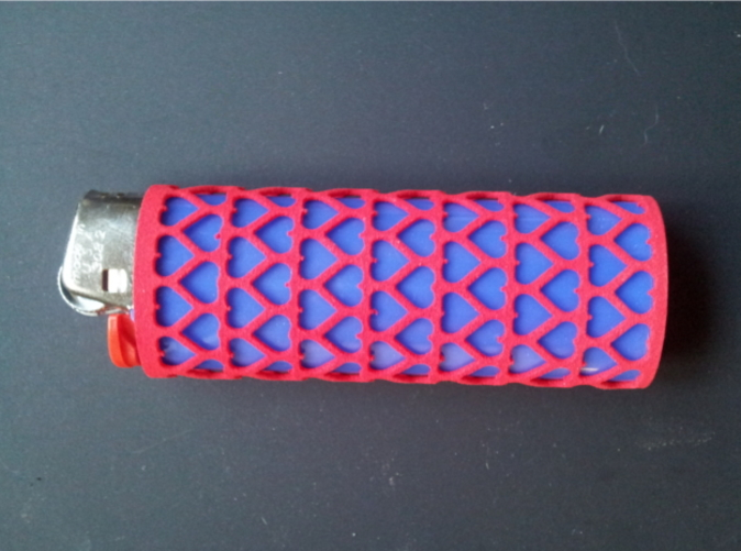 Pink lighter sleeve with a blue BIC