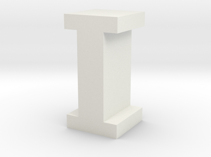 """I"" inch size NES style pixel art font block"
