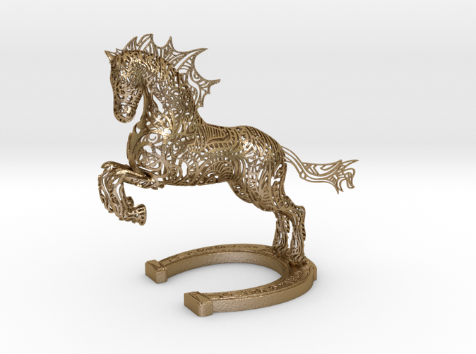 Rocinante Horse Sculpture in Polished Gold Steel