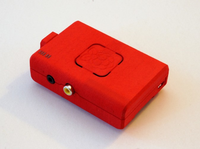 Raspberry Pi mounted onto the real case printed in Red Strong and Flexible