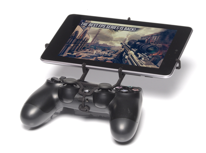 Front View - A Nexus 7 and a black PS4 controller