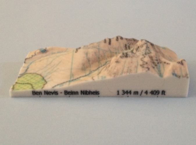 Photo of Ben Nevis - Map model (note: new height of Ben Nevis of 1 345 m is now printed on the model)