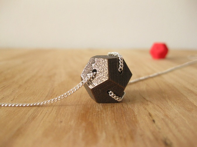 This picture shows how this Dodecahedron can become a Tangles necklace, the chain is not included with your order.