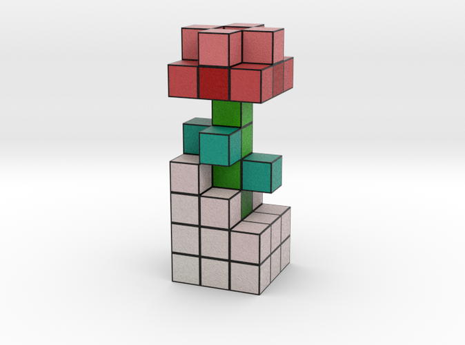 Rose Voxel Flower rendered in Full Color Sandstone.