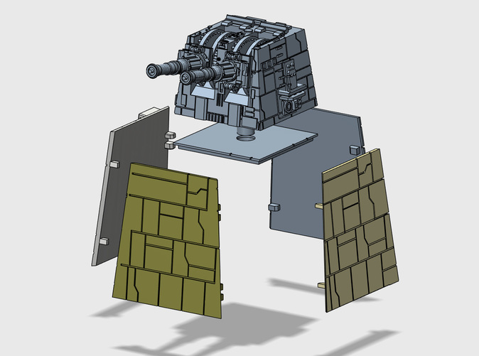Exploded view of the Turbolaser Tower 1/270 kit.