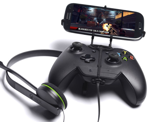 Front View - A Samsung Galaxy S3 and a black Xbox One controller & chat