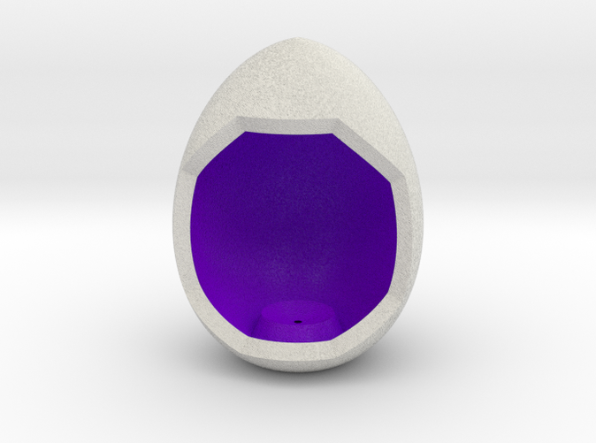 Shapeways render of Egg Display Stand for WISDOM in Full Color Sandstone