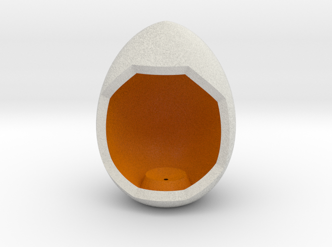 Shapeways render of Egg Display Stand for NURTURE in Full Color Sandstone