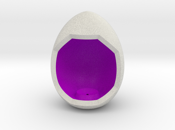 Shapeways render of Egg Display Stand for PASSION in Full Color Sandstone