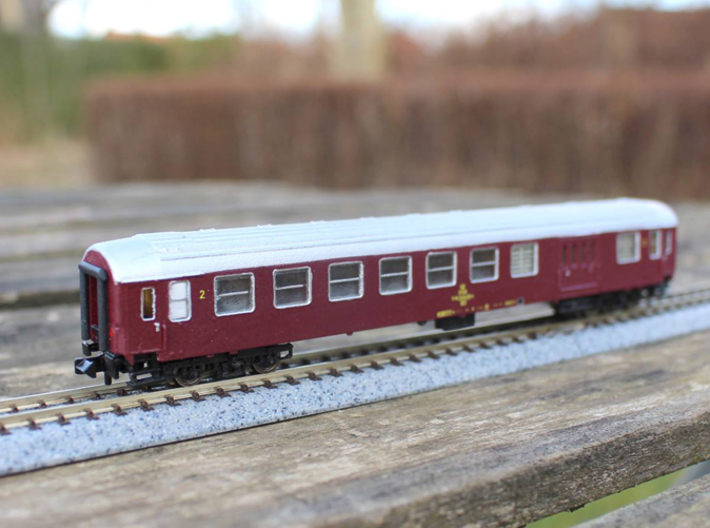 DSB Class BD coach N scale 3d printed Decals can be obtained through Skilteskoven.dk