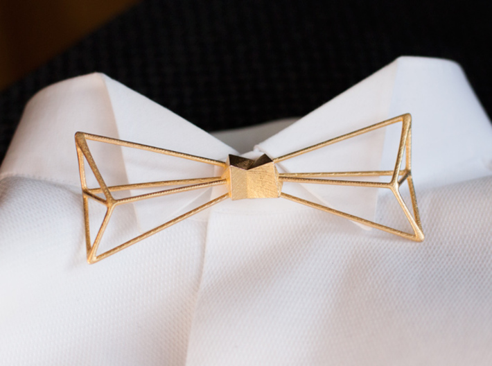 Bow Tie and Necklace in one 3d printed Bow Tie in Polished Gold Steel