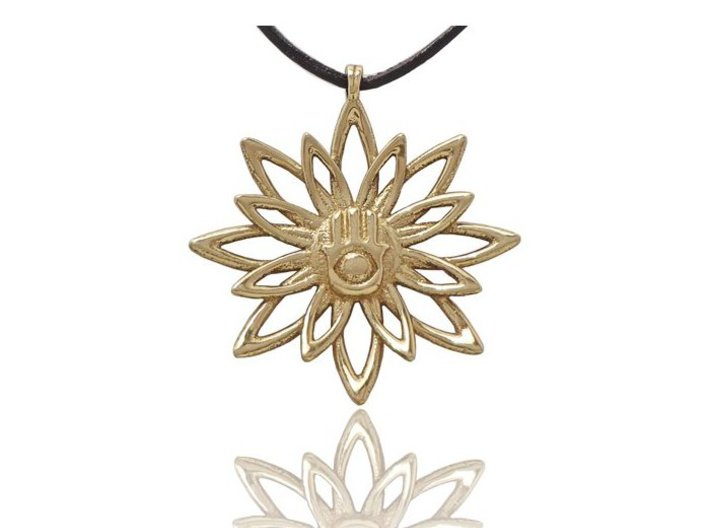 Blooming Hamsa Hand Flower Jewelry Pendant 3d printed