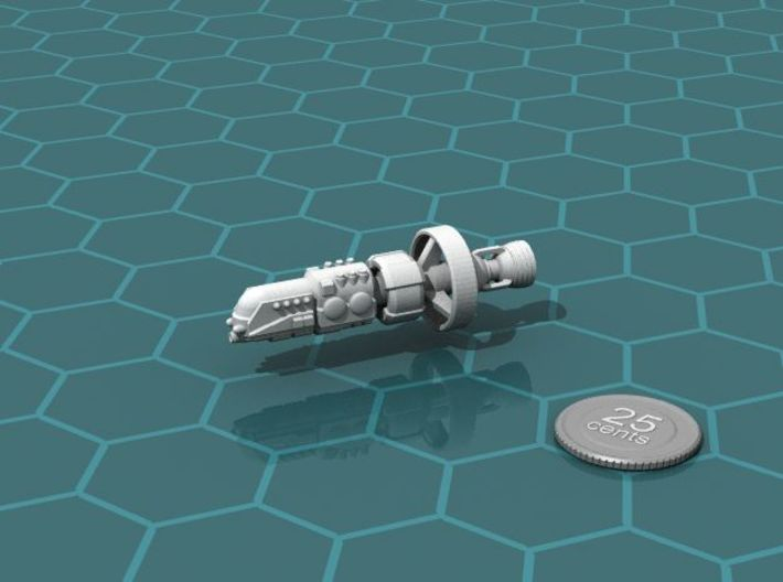 ISN Strike Cruiser 3d printed Render of the model, with a virtual quarter for scale.