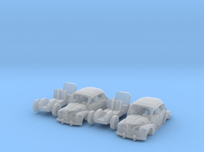 SET 2x Renault 4CV (TT 1:120) 3d printed