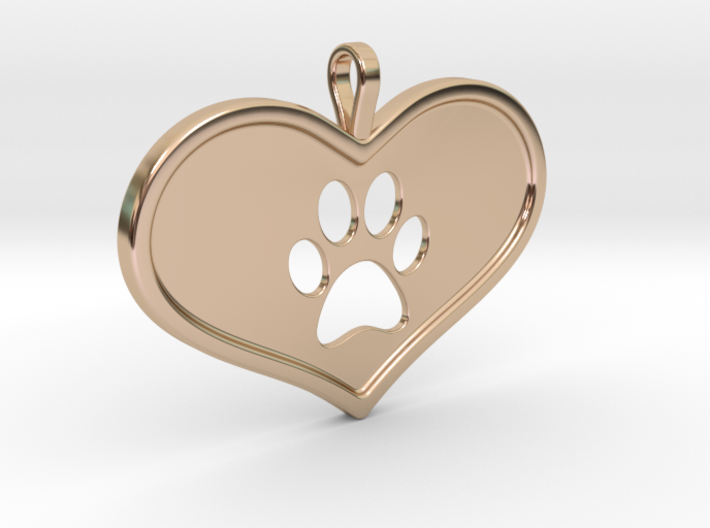 Paw in heart 3d printed