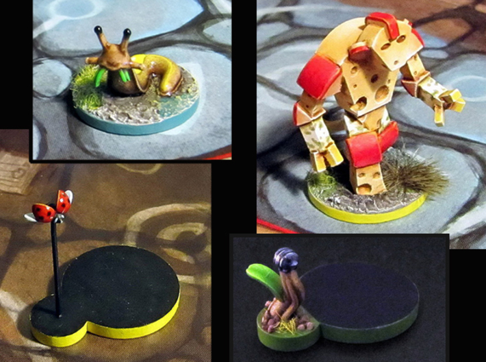 Cheese Golem, Ladybug, 4 Slugs, Doodlebug - M&M 3d printed Hand-painted models, after ladybug assembly (game board with flagstones copyright Plaid Hat Games)