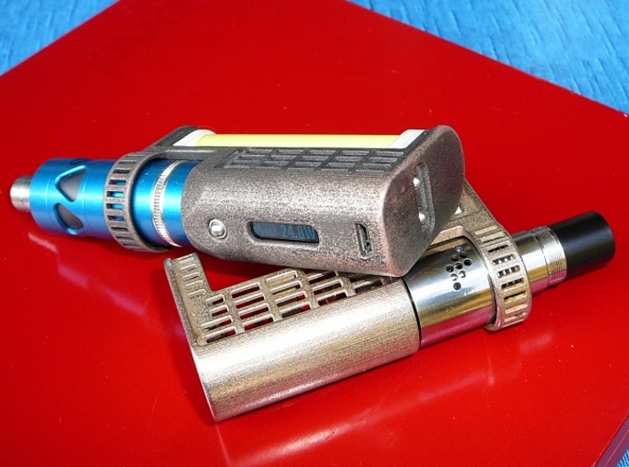 Thesas 3d printed Polished grey Steel and stainless Steel Thesas mech Mod  (not for sale)