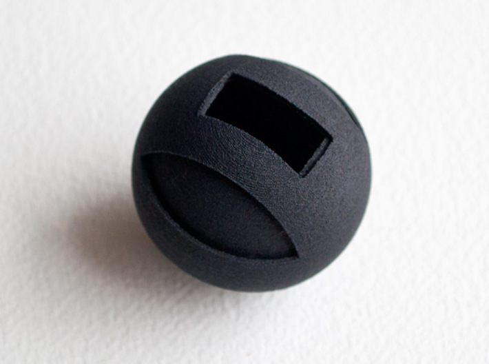Sphere Case 3d printed Printed black Sphere Case opened.