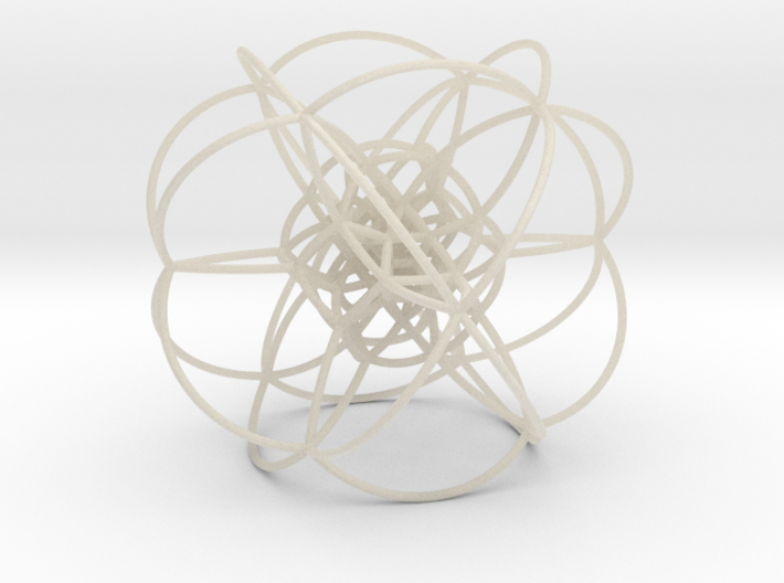Rectified 24-Cell, Stereographic Projection 3d printed