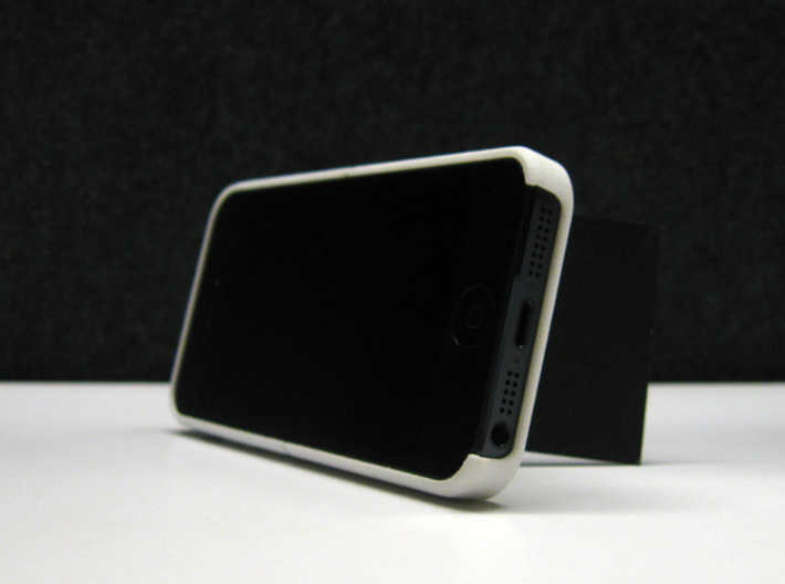 """Cariband case for iPhone 5/5s, """"holds stuff"""" 3d printed White Strong & Flexible POLISHED, Front, business card as stand for landscape view"""