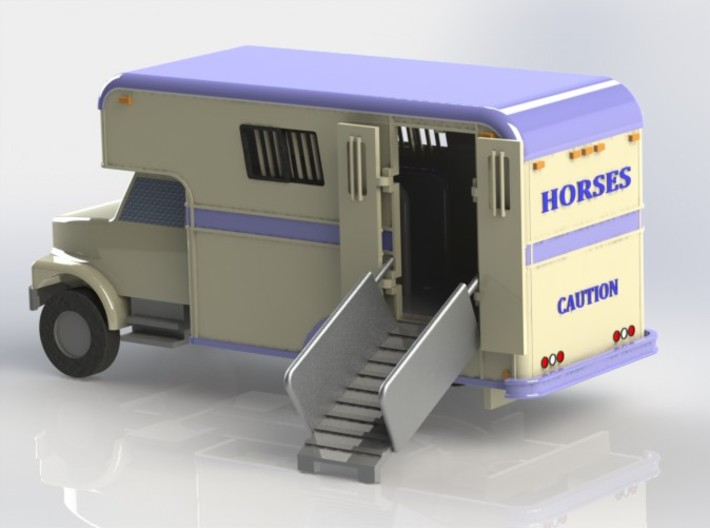 HO 1/87 Horsebox 1987 Imperatore 3-4 3d printed CAD render of the 3D printed body components fitted to a chassis.
