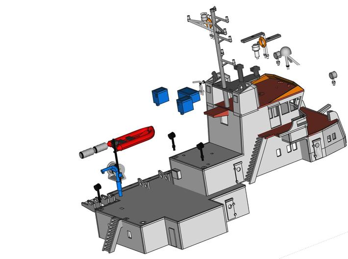 MV Anticosti, Details 2/2  (1:200, RC ship) 3d printed exploded view of parts to be added to superstructure