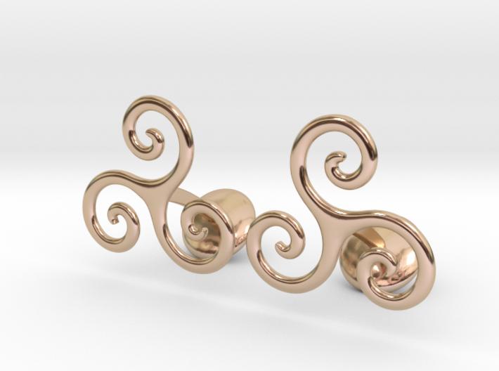 Celtic Spiral Cufflinks 3d printed