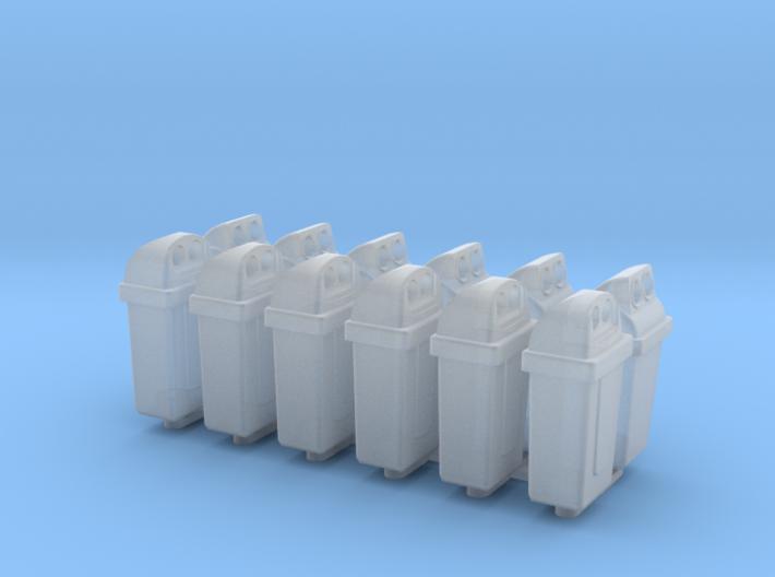 Trash can set (6x2), N-gauge 3d printed
