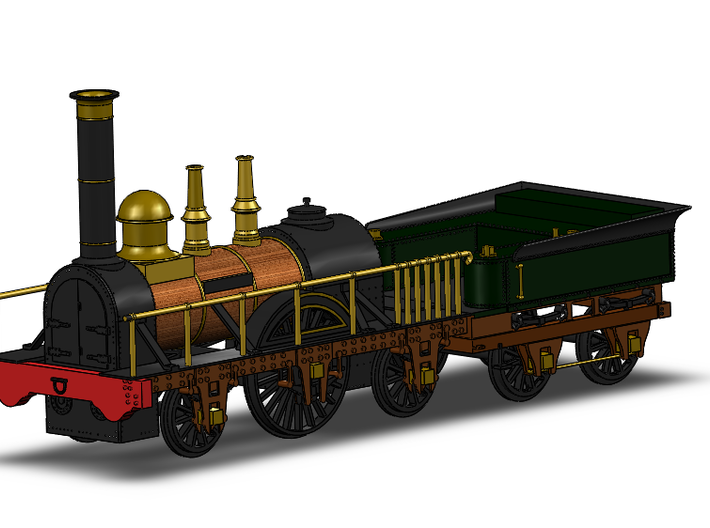 De Arend Tender (1:87) 3d printed In combination with the locomotive. Solidworks render