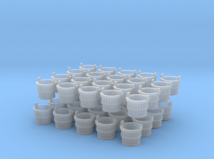 D502 - 40 4mm scale Wooden Buckets 3d printed