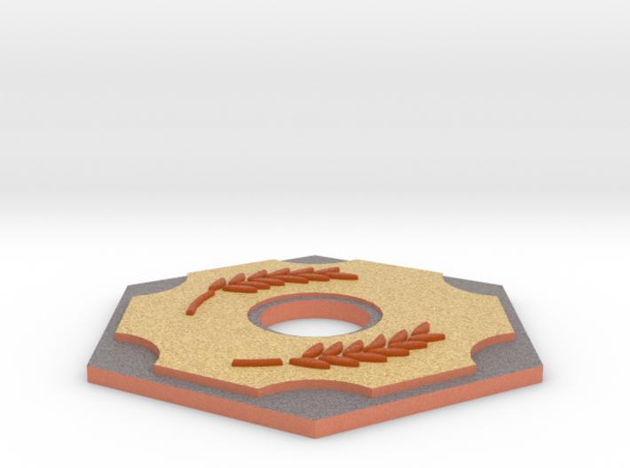 Catan Hex Tile Wheat 79mm 3d printed