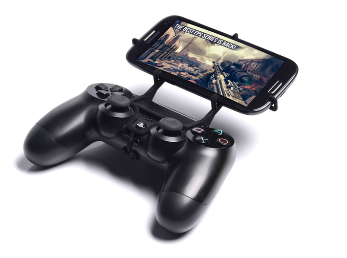 PS4 controller & Unnecto Quattro X - Front Rider 3d printed Front View - A Samsung Galaxy S3 and a black PS4 controller