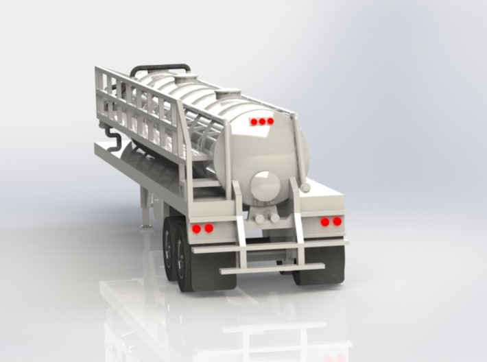 N scale 1/160 Crude oil trailer, Troxell 130 3d printed Cad render showing rear details.