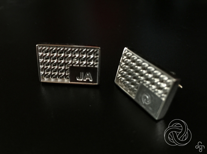Chainmail Cufflinks 3d printed Front (Customized) [Polished Silver]