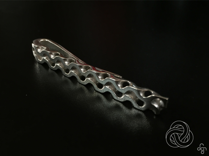 Gyroid Tie Bar 3d printed Front [Polished Silver]