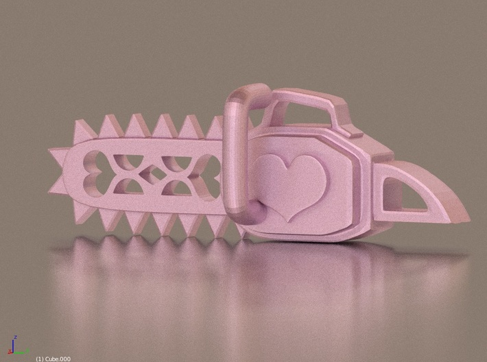 Kawaii Heart Chainsaw 7.6cm Charm 3d printed Glossy pink render :3