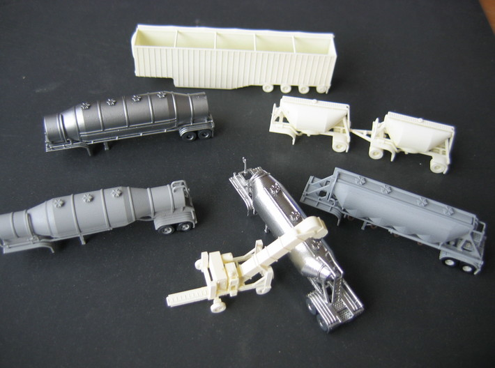 N scale 1/160 Dry Bulk Pup 07 Pair 3d printed Some of my other N-scale, 3D-printed models.