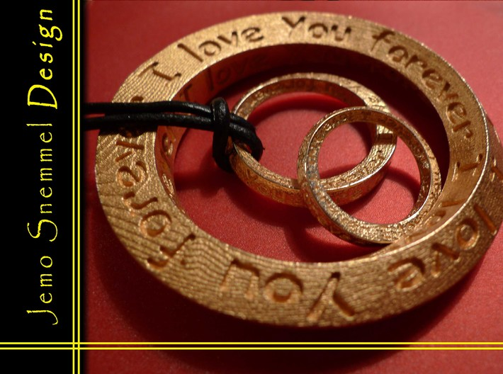"""Mobius ring """"I Love You Forever"""" Size 5 3d printed"""