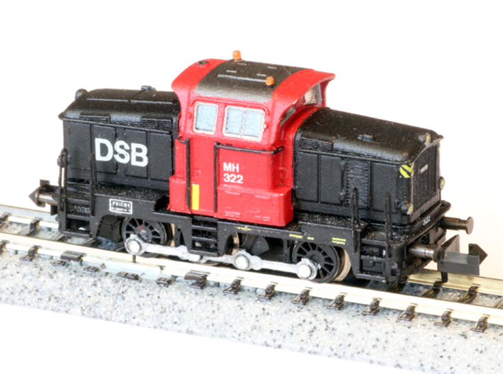 DSB MH in 1:160 N scale 3d printed mounted on Minitrix V36 frame