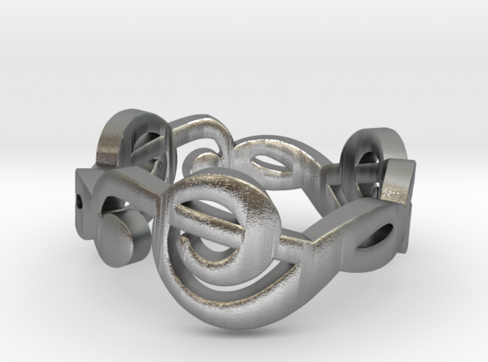 Treble clef ring size 7 3d printed