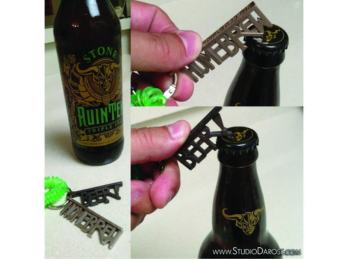 """""""BEER!"""" Bottle Opener KeyChain - Customizable 3d printed Check out our other options too!"""