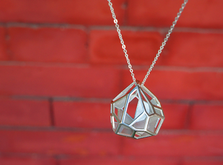 Droplet Pendant 3d printed Pendant in Polished Sterling Silver Finish