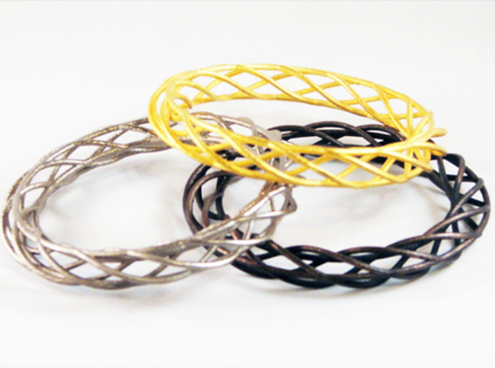 Twist Bangle A01M 3d printed Stainless Steel