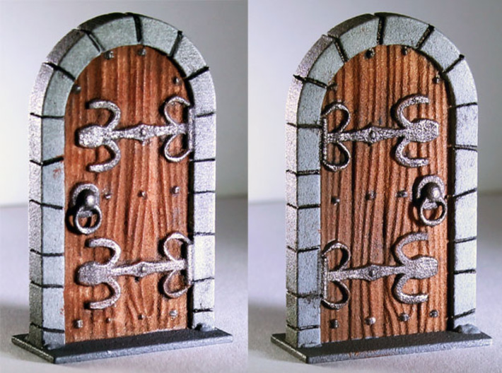 HeroQuest closed door v.01 3d printed Painted Prototype printed in White Strong & Flexible Polished