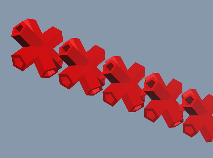 5 shallow triple red bobs 3d printed
