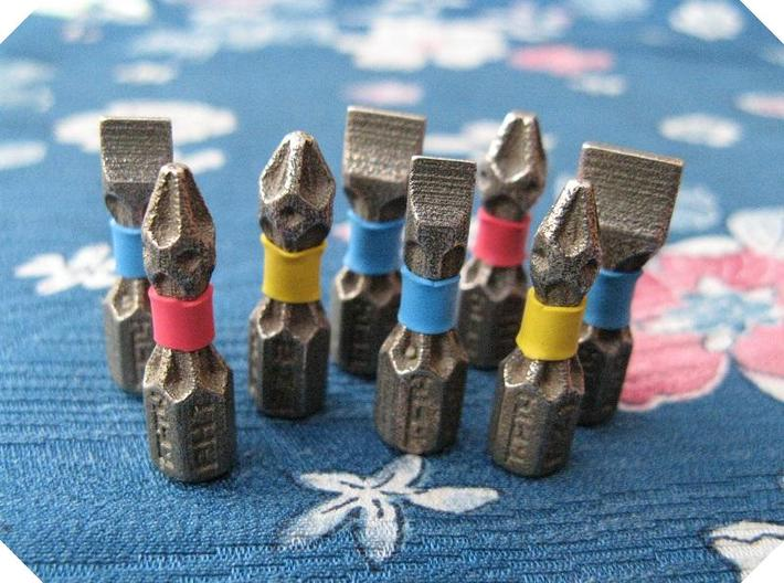 "1/4"" Hex Bits x8 (Phillips, Pozi, Flat Head) 3d printed"