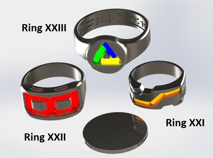 US10.25 Ring XXI: Tritium 3d printed This render shows the various ring designs that can made available and possible tritium vial arrangements.