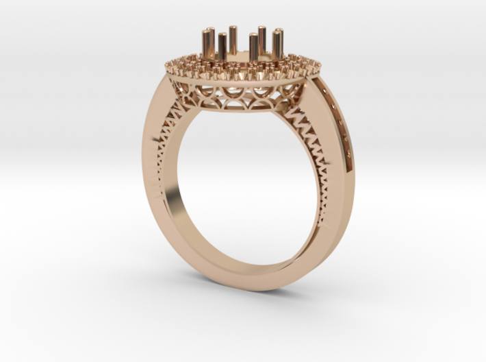 1 carat diamond Halo ring 3d printed