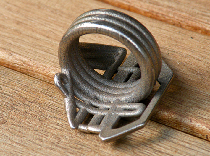 Balem's Ring2 - US-Size 5 1/2 (16.10 mm) 3d printed Ring 2 in stainless steel (shown: size 13)