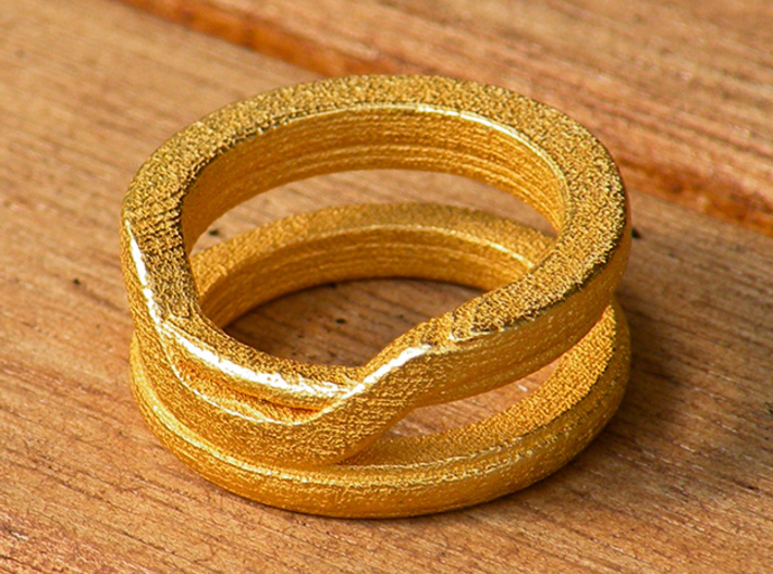 Balem's Ring1 - US-Size 12 (21.49 mm) 3d printed Ring 1 in polished gold steel (shown: size 6 1/2)